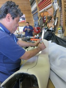 Jorge Monroy preparing to make upholstery for Ducati Motorcycle Seat