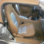2 Tone Mazda Miata with Tan Leather and  Silver Perforated  Inserts.